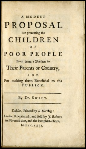 Jonathan Swift and his book, A Modest Proposal
